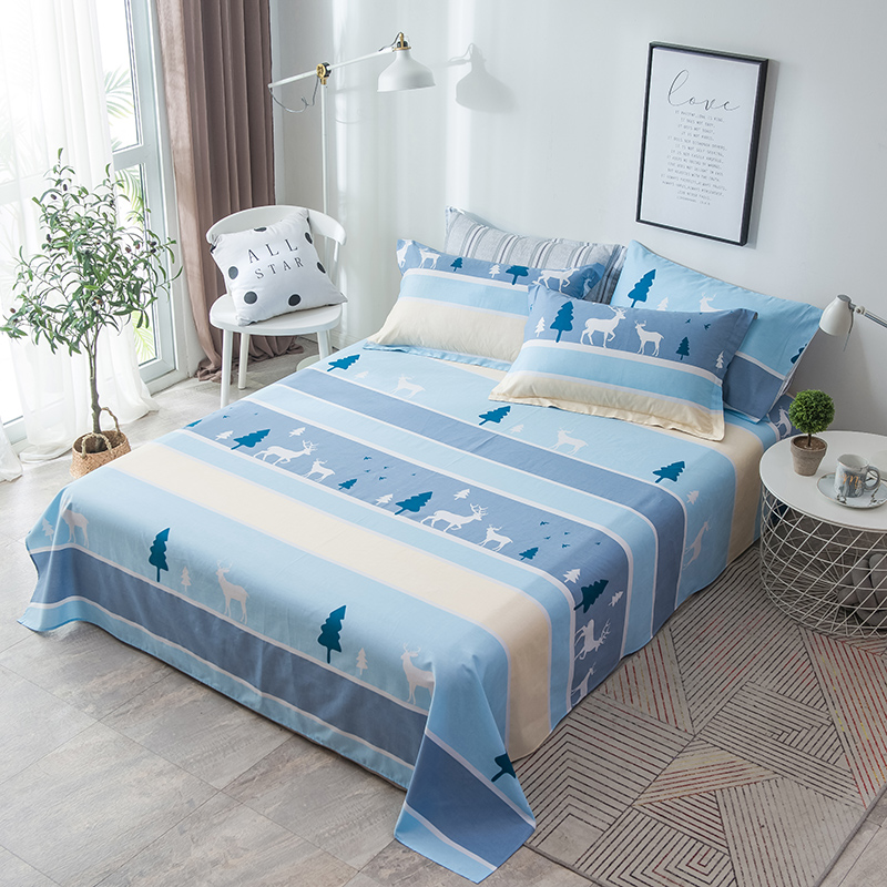 Cartoon style 100%Cotton twin full Queen King size Bedding Deer tree Bed set Soft Bed Sheet Set Pillowcases stripe flat sheetCartoon style 100%Cotton twin full Queen King size Bedding Deer tree Bed set Soft Bed Sheet Set Pillowcases stripe flat sheet