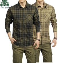 AFS JEEP 2015 Spring Autumn Full Sleeve Plaid Shirt For Men Summer leisure Thick Cotton Cargo
