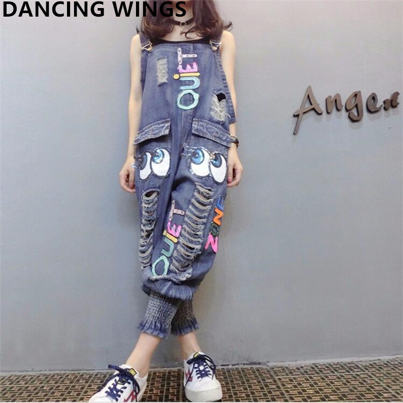 Female Denim Jumpsuits Fashion Sequins Cartoon Letters Hole Bib Pants Casual Loose Harem Pants Women Denim Overalls