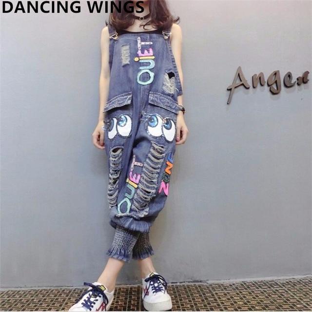 Monos de mezclilla de mujer moda lentejuelas letras de dibujos animados agujero babero Pantalones Casual holgado Harem mujeres pantalones de mezclilla