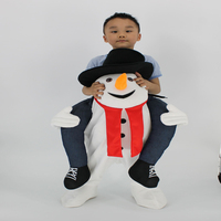 Santa Claus Cosplay Costume Kids Christmas Snowman Clothes Ride On Snowman Mascot Costume Carry Back Halloween Purim Fancy Dress
