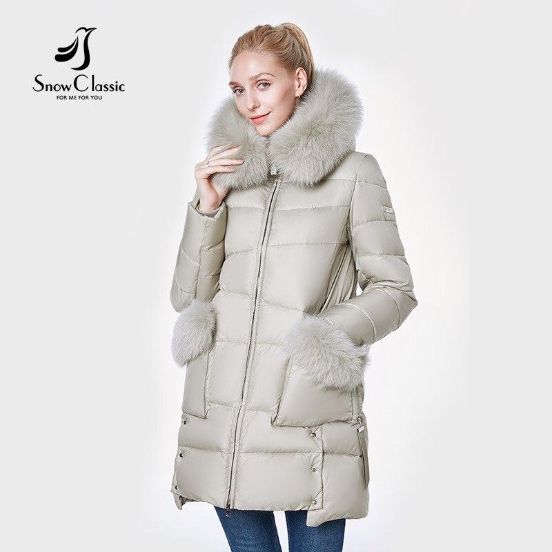 SnowClassic 2018 nouvelle veste femmes camperas mujer abrigo invierno manteau femmes parc Renard cheveux Chapeau poche Côté épais conception