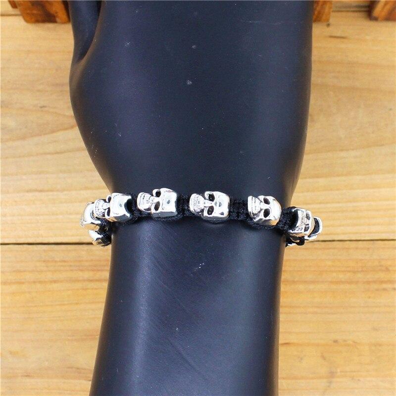 Sonrisa esqueleto cráneo pulseras Strand Vintage Boho antiguo plata tejida cuerda hecha a mano artesanía moda joyería 4