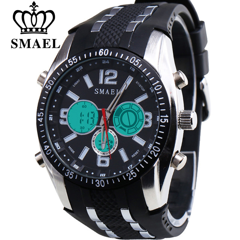 SMAEL Fashion Luxury Brand Men's Quartz Digital Watches Men Sports Clock Leather Army Military Wrist Watch Man Relogio Masculino 2018 new luxury brand weide men sports watches fashion men s quartz led clock man army military wrist watch relogio masculino