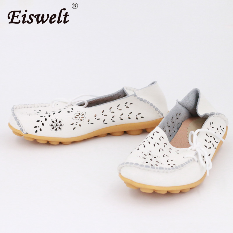 EISWELT Shoes Woman Breathable Shoes Genuine Leather Women Casual Butterfly-knot Round Toe Women Summer Flat Shoes#XH010