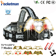 60000LM LED Headlight 9*T6+2 Red Warning Light Headlamp with SOS rescue whistle Electricity Reminder USB Charge 18650 90