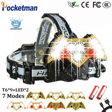 60000LM LED Headlight 9*T6+2 Red Warning Light Headlamp with SOS rescue whistle Electricity Reminder USB Charge 18650 90(China)