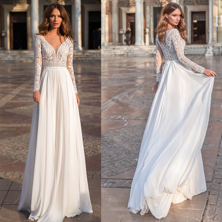 Elegant V-neck Lace Upper Soft Chiffon A-line Wedding Dress With Button Back Applique Long Sleeves Bridal Dress Vestido De Novia