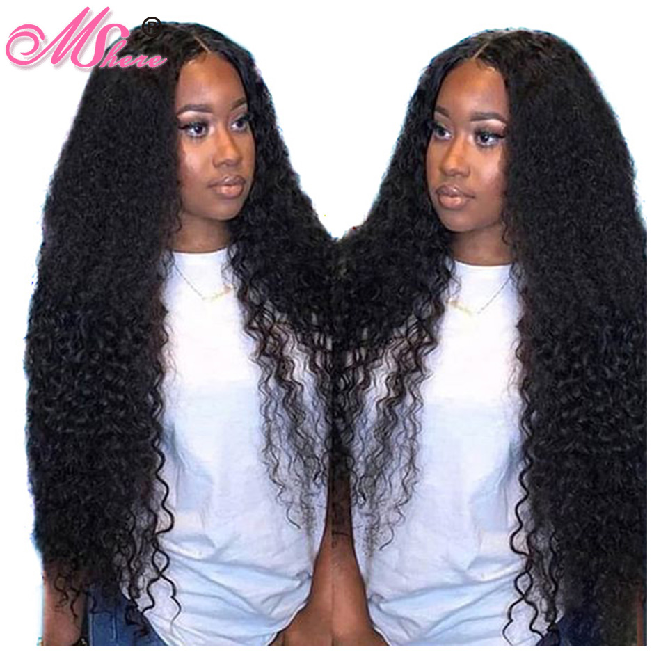 13x4 Brazilian Deep Wave Lace Front Human Hair Wig For Women Black Remy Pre Plucked Natural