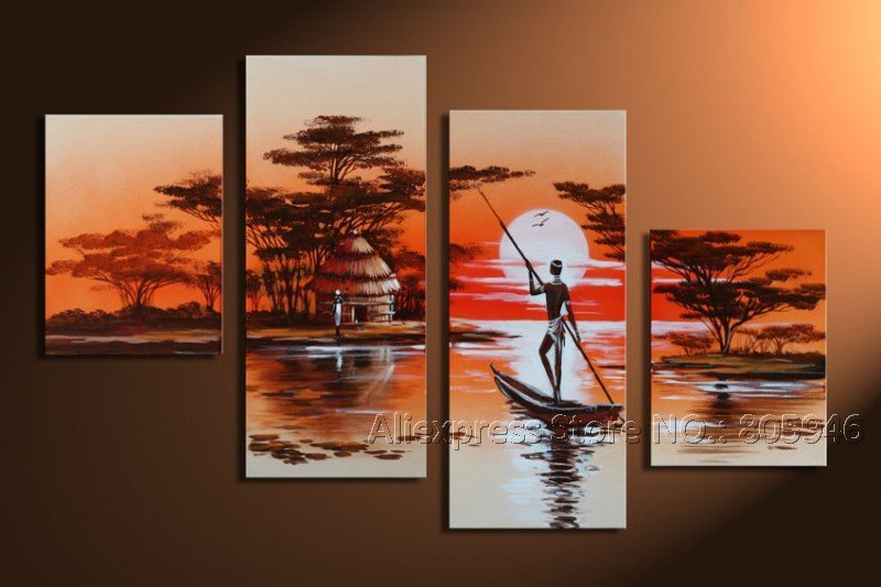 framed free shipping large art modern landscape oil painting on canvas african stretched. Black Bedroom Furniture Sets. Home Design Ideas