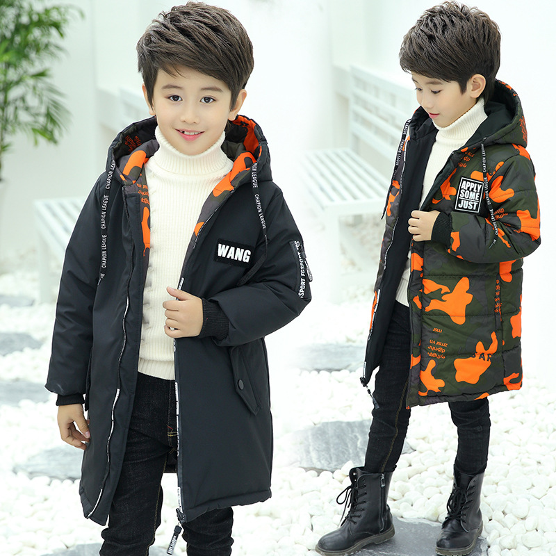 2018 Winter Boys Parkas Thick Camouflage Wear On Both Sides Warm Jackets Hooded Long Cotton-jackets For 5-14T Children children winter jackets for boys fur collar hooded coats camouflage thick padded cotton long jackets boys parkas warm snowsuit