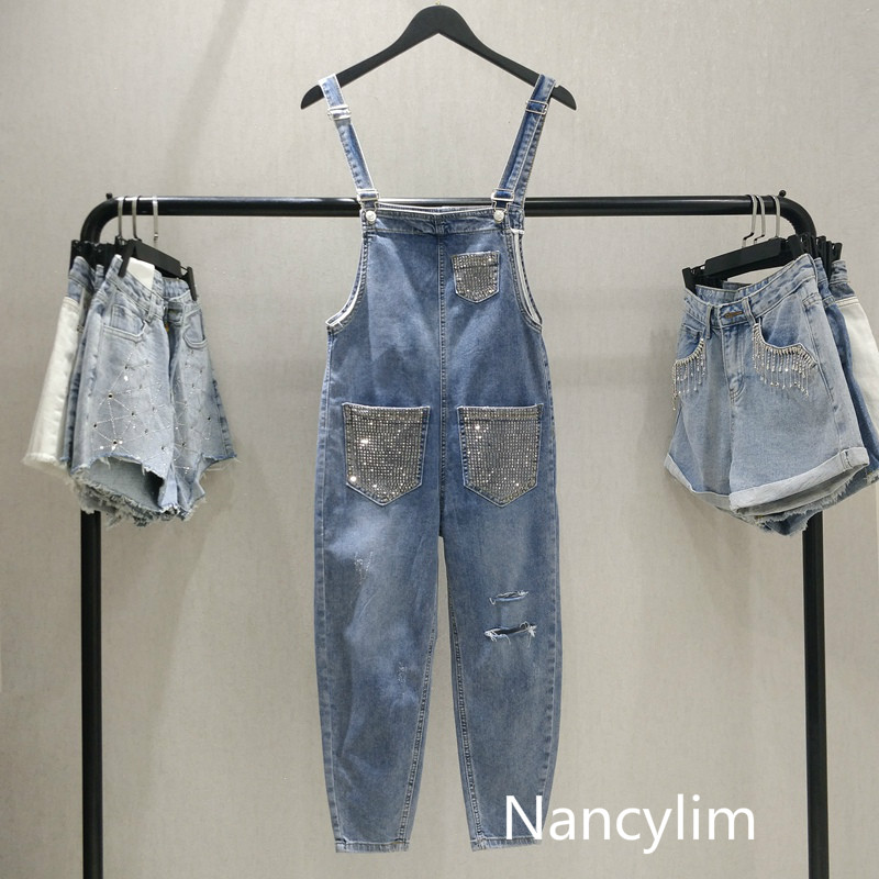 Nancylim Shoulder Strap   Jeans   Women High-waist Strap Pants Girls Students Spring Summer New Hot-drilled Holes Loose   Jeans   Pants