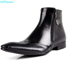Pointed Toe Snake Pattern Chelsea Boots Men Italy Style Fashion Ankle Brogue Zipper Casual Genuine Leather Dress Boots цены онлайн