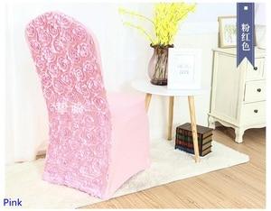 Image 1 - 핑크 컬러 스 판 덱 스의 자 커버 장미 꽃 디자인 라이크라 결혼식 연회 호텔 장식