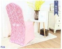 Roze Kleur Spandex Stoelhoezen Rozet Stoel Cover Rose Bloem Ontwerp Lycra Voor Bruiloft Hotel Decoratie