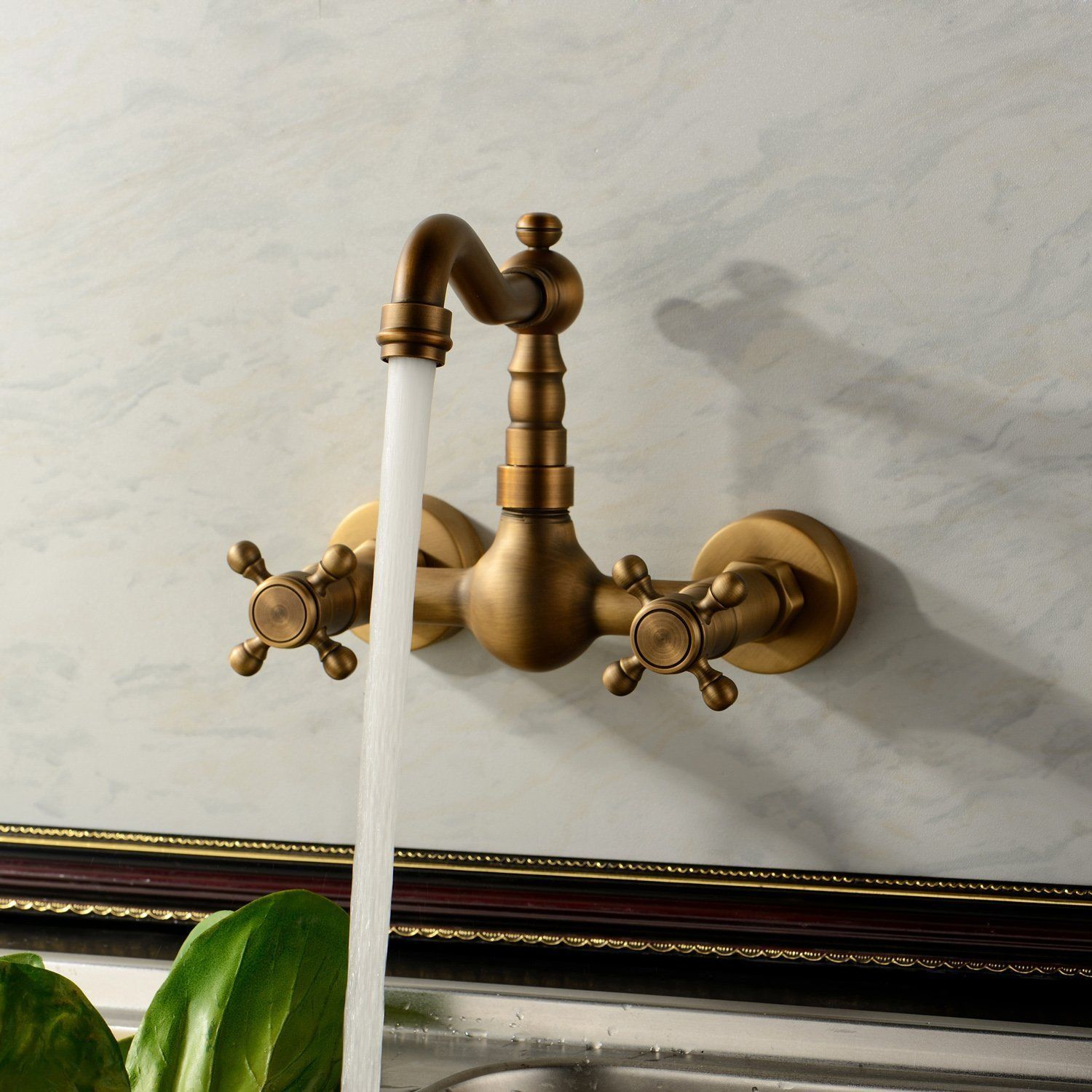 Antique Brass Wall Mounted Swivel Spout Bathroom Sink Faucet Double Handle Mixer Tap Wall Mounted ZD515 in Basin Faucets from Home Improvement