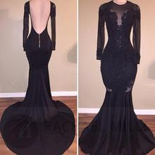 Vintage Black Mermaid Prom Dresses 2019 Vestidos De Fiesta De Noche Long Sleeve Evening Dress Backless Sheer Formal Party Gowns 2019 women chiffon prom dresses off shoulder formal party gowns vestidos de fiesta de noche