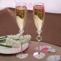 PERSONALIZED free engraved,Toasting Flutes - Hearts set 0f 2,write your name and wedding date