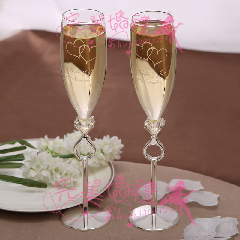 PERSONALIZED Free EngravedToasting Flutes Hearts Set 0f 2write Your Name And Wedding Date In Party DIY Decorations From Home Garden On Aliexpress