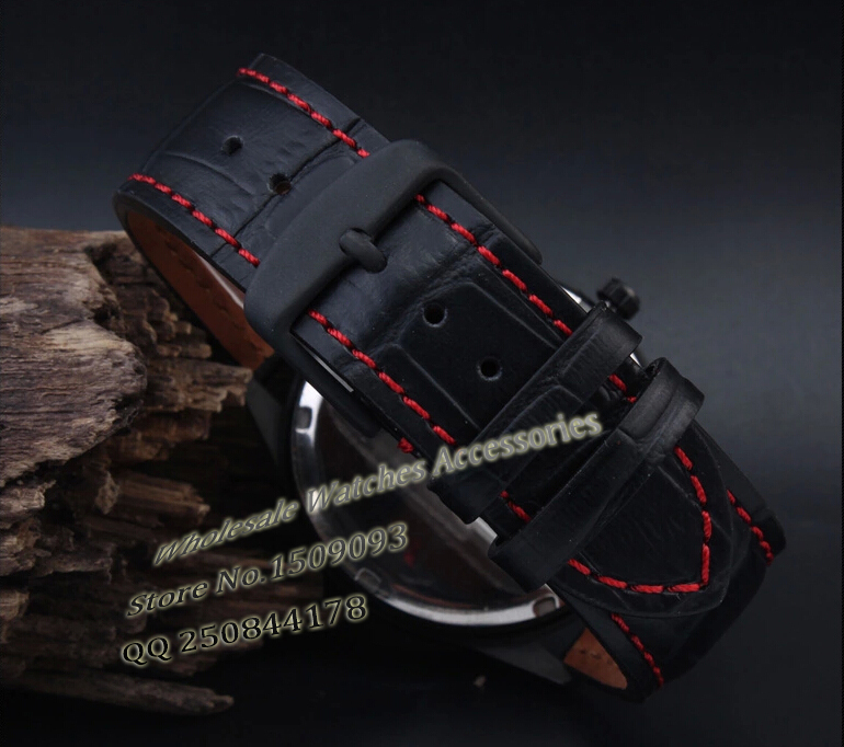 Leather watchband 18mm 20mm 22mm NEW Men High quality Genuine Leather Black Crocodile Grain Red Stitch
