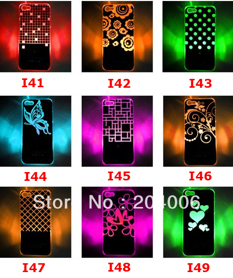 Newest design Colorful Change logo Battery Sense Flash LED light Cover Case for iPhone 4 4s Styles New fast  Shipping