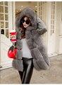 2016 новые марка искусственный мех пальто С Капюшоном женщин плюс размер 8 цвета искусственного меха куртка женщин теплый искусственного меха жилет женщин