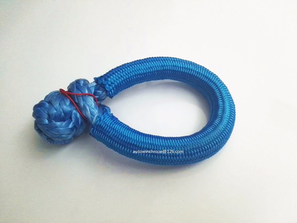 Blue 10mm*80mm ATV Winch Shackle,Synthetic Winch Rope, Soft Shackles for Off Road,Rope Shackle