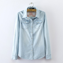 Casual Denim Blouse Plus Size Women Clothing Long Sleeve Turn Down Collar Washed Jeans Shirts Female Tunic Tops Blusas