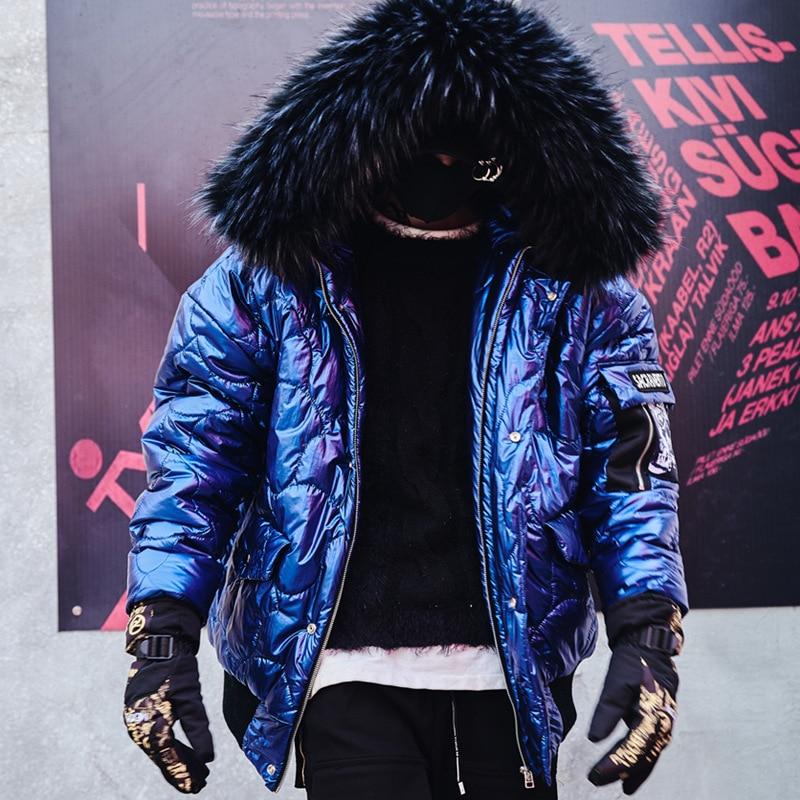 Veste Épaisse Blue Homme Surdimensionné Fourrure Bleu Mode Drop Hommes De Shipping Usa Taille Chaud Bomber Manteaux D'hiver Manteau fazYaxn