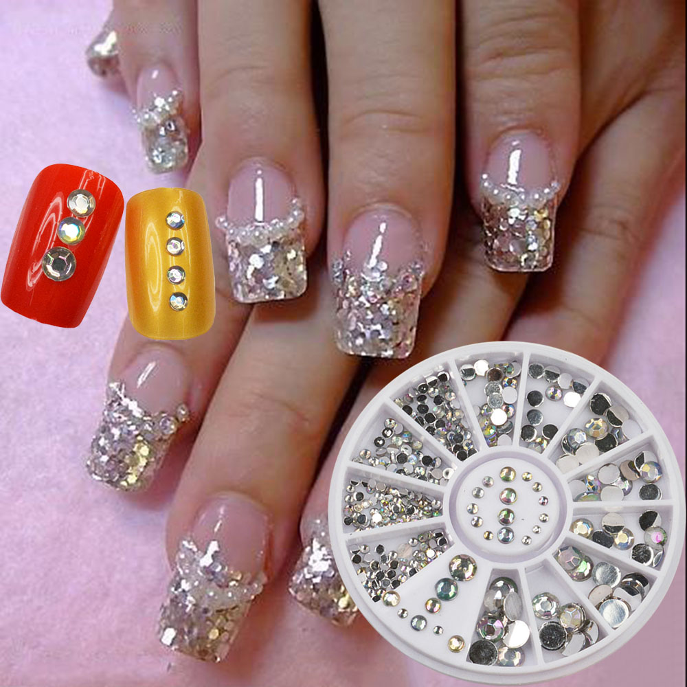 Nail Acrylic 5 Sizes White Multicolor Art Decoration Glitter Rhinestones 15g Hot Sale