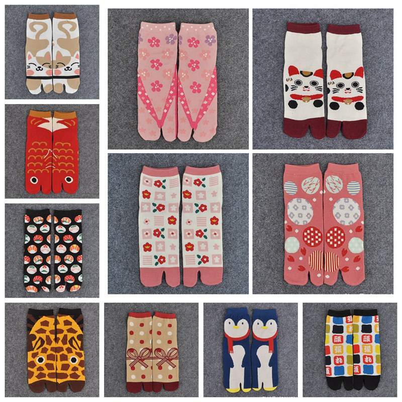 1 Pair Women Sandal Short Soft Cotton   Socks   Ladies Multi-Color Print Split Toe   Socks   Kimono Flip Flop XLZ9454