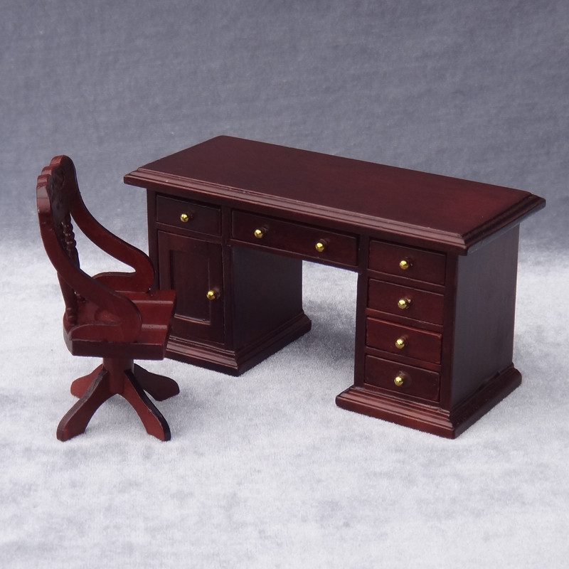 Doub K 1:12 Wooden Miniature simulation desk chair for dolls Dollhouse Furniture toy pretend play toys for girls kids gifts