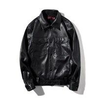 Autumn Plus Size Vintage Cow Hide Leather Or Super Soft Sheepskin Leather PU Male Leather Jacket Men Casual Moto Front Pocket
