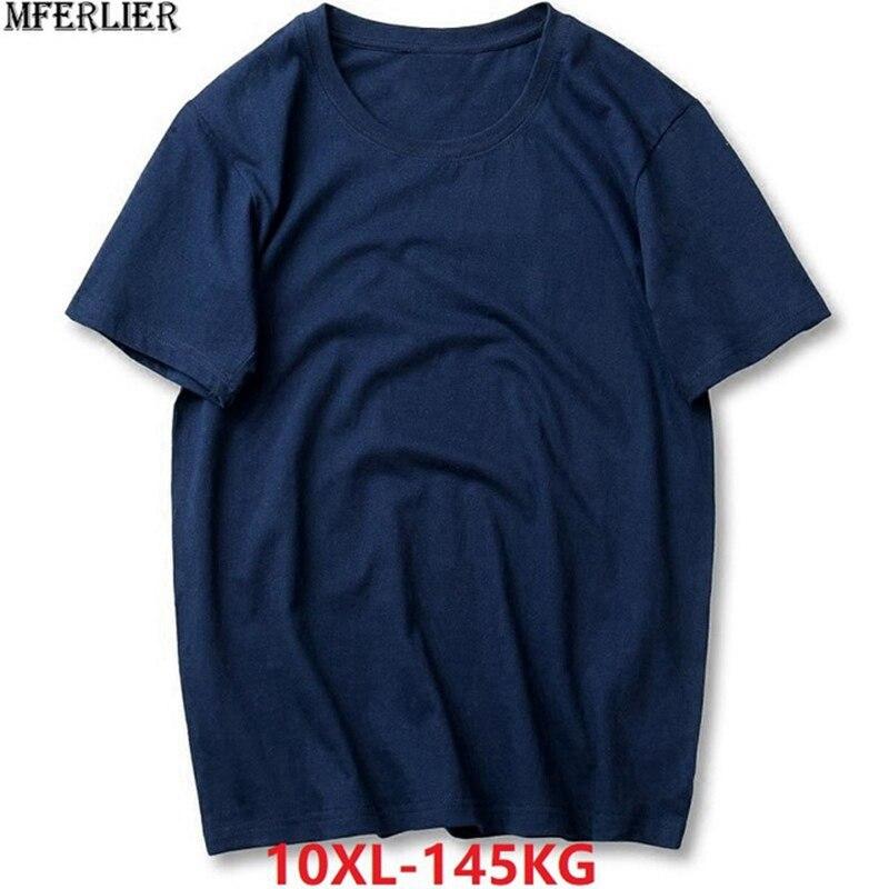 806bcffdd6 MFERLIER homens camisetas de manga curta verão plus size grande 5XL Casual  tees algodão 8XL 9XL 10XL Casa camiseta azul marinho tops 54 56 58