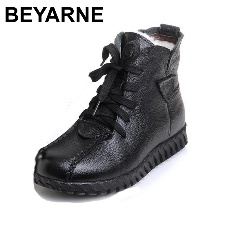 BEYARNE 2018 new Everest Genuine Leather Boots women Female shoes Autumn Winter short Boots flats lace