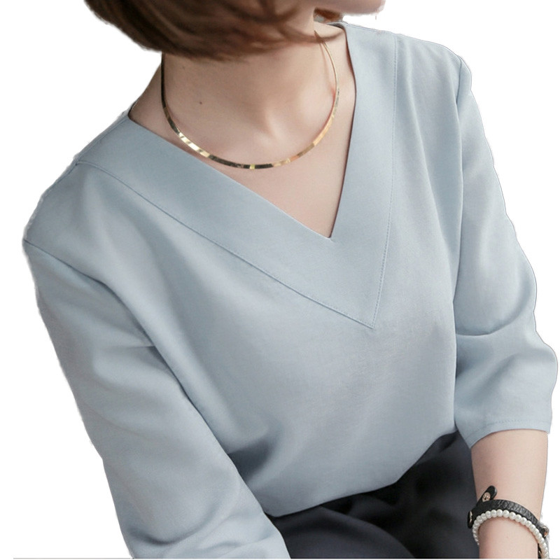 RibbonFish Women Summer Style Chiffon   Blouses     Shirts   Lady Girls Simple Style V-Neck Gray Pink White Blusas DD1339
