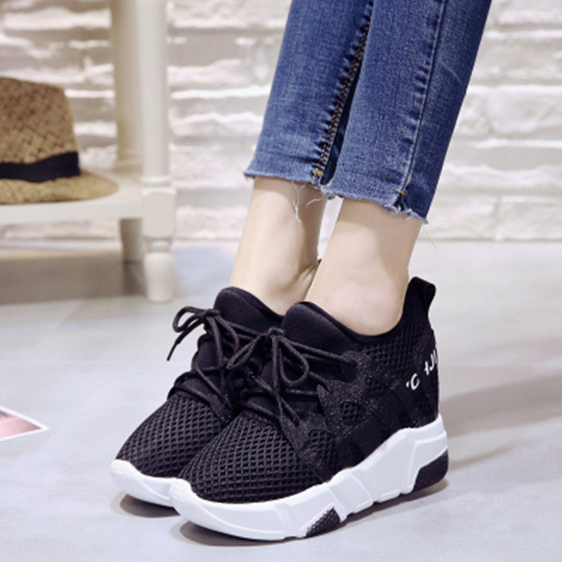 10cm Thick Sole 2018 Ladies Fashion Casual Shoes Mesh Breathable Inner Height Shoes Superstar Chaussures de sport 31