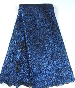 New fashion bronzing royal blue African Cord Lace Fabric material polyester French velvet Swiss Voile water soluble for sewing