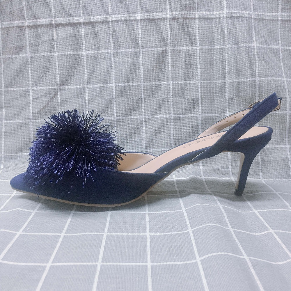Kmeioo Ladies Shoes Puff Pompom Pumps Pointed Toe Kitten Heel High Slides With Pompoms 02 03 04 05 Img 0708