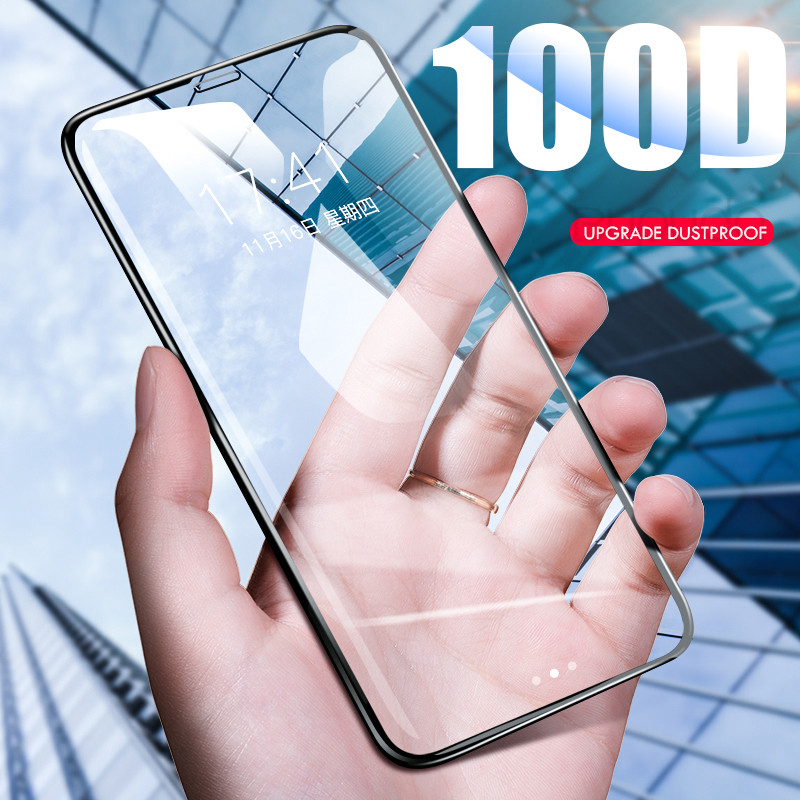 100D Full Cover Screen Protector For IPhone 7 8 6 6S Plus XS Protective Glass For IPhone X XR XS 11 Pro Max Tempered Glass Film