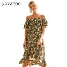 Yovamoo Summer Off The Shoulder Slash Neck Short Sleeve Ruffles Irregular Backless Floral Print Princess Casual Dresses Women