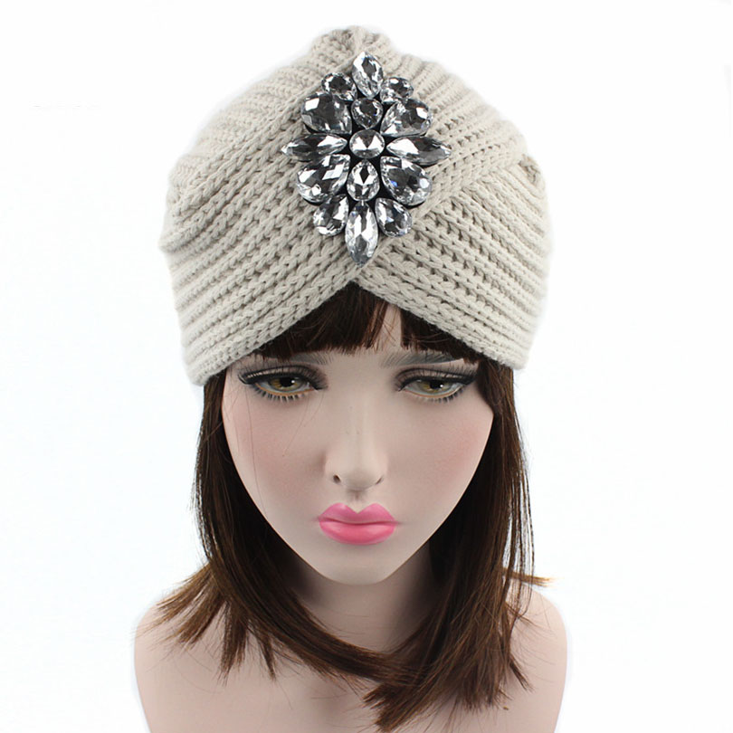 Haimeikang Women Crystal Flower Turban Cap Female Casual Knitting Elastic Rhinestone Beanies Crochet Winter Knitted Hat
