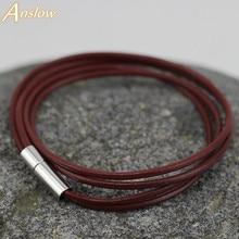 LOW0014LB Быстрая 2 мм кожаный браслет и Веревка Браслеты для женщин или девочек модные мужские браслеты унисекс ювелирные изделия
