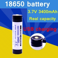 2017 New Style USB Direct Charging 18650 Battery 3 7V 3400mAh Rechargeable Battery High Quality Real