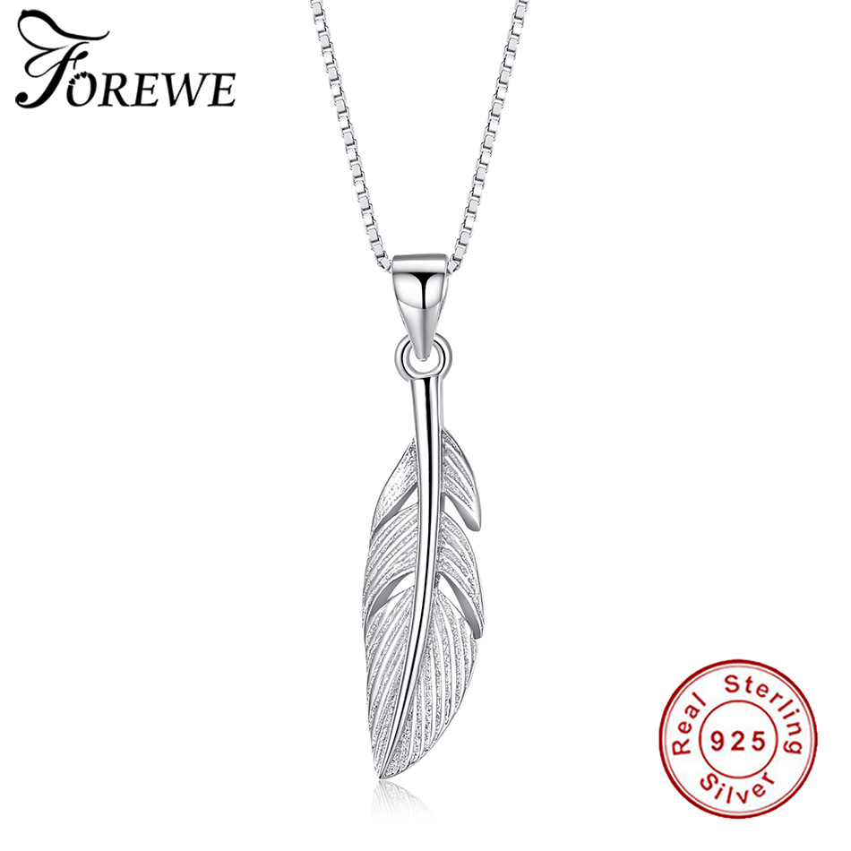 Forewe 100% Pure 925 Sterling Silver Majestic Phoenix Feathers Wings Vintage Pendant Necklace For Women Jewelry Best Friend Gift image