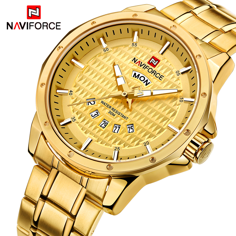 NAVIFORCE Mens Luxury Brand Gold Watches Men Quartz Date Week Clock Man Waterproof Fashion Sports Stainless Steel Wrist watch new men stainless steel gold watch luxury brand auto date mens quartz clock roman scale sports wrist watches relogio masculino