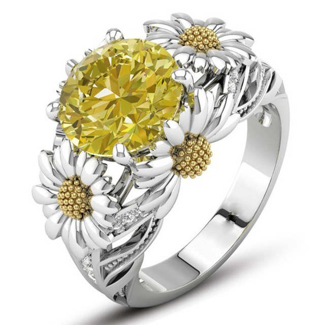 gemstone daisy sparta dazzling yellow ring with women for engagement wedding rings