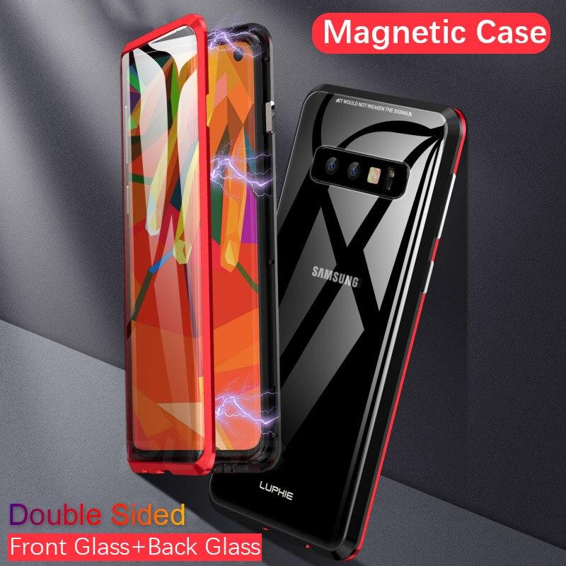 Luxo Dupla face de vidro caso Magnético para samsung galaxy s10 360 proteção completa de metal capas para samsung S10 MAIS casos de lite