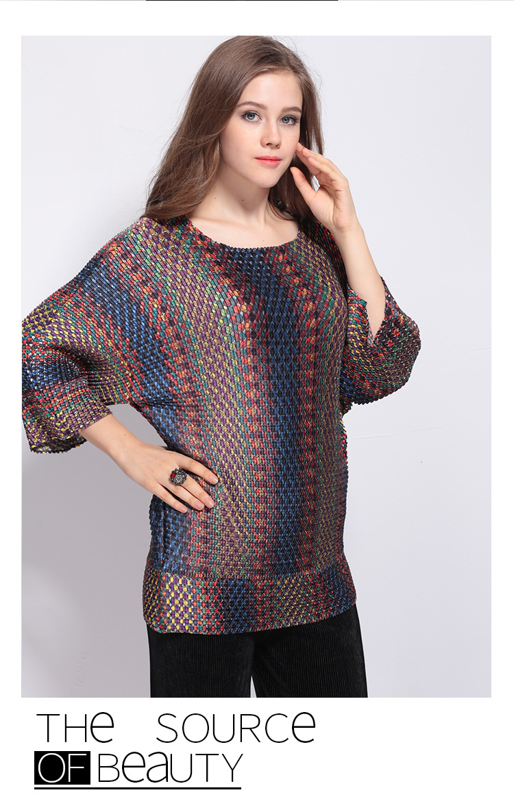 Femmes Fold T En Mode Lâche Imprimer Stock Livraison Manches Trois Trimestre Gratuite shirt Nouvelle Sexy eneck Miyake O ABnnZqOwxS