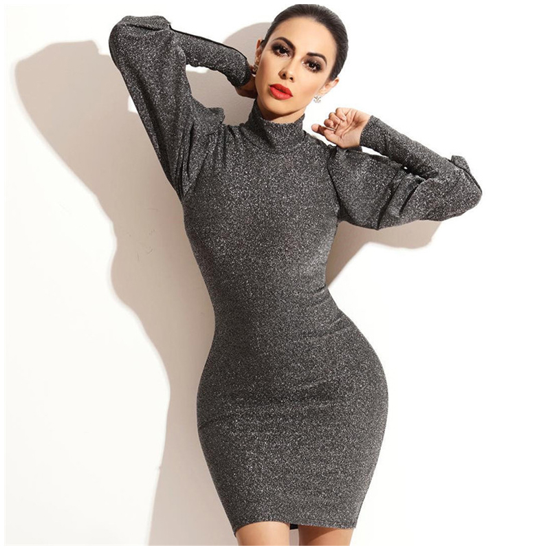 e9a1114620 US $11.83 51% OFF|Rapwriter Casual Elastic Turtleneck Slim Glitter Dress  Women 2018 Fall Winter Long Lantern Sleeve Bodycon Party Dress Vestidos-in  ...